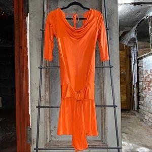 Diane von Furstenberg Orange Silk Waist Tie Dress
